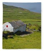 Lone Farmhouse On Mizen Head In West Fleece Blanket