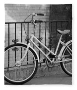 Lonely Bike In Black And White Fleece Blanket