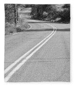 Long And Winding Road Bw Fleece Blanket