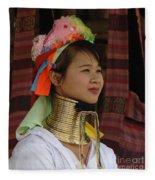 Long Necked Woman 3 Fleece Blanket