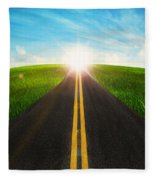 Long Road In Beautiful Nature  Fleece Blanket