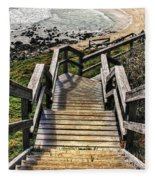 Long Stairway To Beach 2 Fleece Blanket