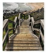 Long Stairway To Beach Fleece Blanket