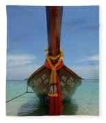 Long Tail Boat Thailand Fleece Blanket