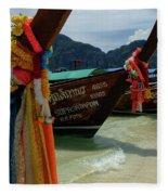 Long Tail Boats Fleece Blanket