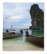 Long Tail Boats Thailand Fleece Blanket