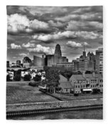 Looking Downtown From The Erie Basin Marina Fleece Blanket