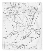 Lorraine And Alsace: Map Fleece Blanket