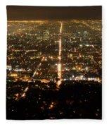 Los Angeles At Night 2 Fleece Blanket