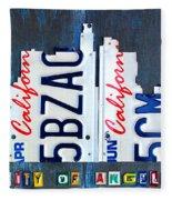 Los Angeles Skyline License Plate Art Fleece Blanket