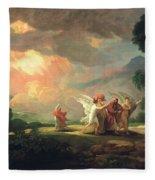 Lot Fleeing From Sodom Fleece Blanket
