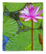 Lotus Blossom And Water Lily Pads Fleece Blanket