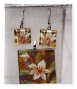 Lotus Flower Pendant And Earring Set Fleece Blanket