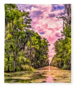 Louisiana Bayou Sunrise Fleece Blanket