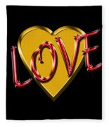 Love Gold And Red Fleece Blanket