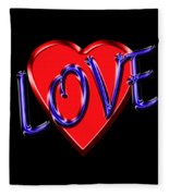 Love In Blue And Red Fleece Blanket