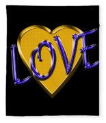 Love In Gold And Blue Fleece Blanket