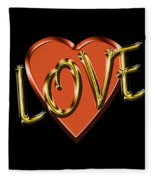 Love In Gold And Copper Fleece Blanket