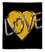 Love In Gold And Silver Fleece Blanket