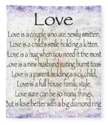 Love Poem In Purple  Fleece Blanket