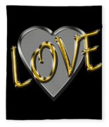 Love In Silver And Gold  Fleece Blanket