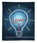 Love Word In Light Bulb Fleece Blanket