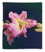 Lovely Pink Lilies Fleece Blanket