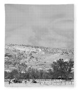 Low Winter Storm Clouds Colorado Rocky Mountain Foothills 7 Bw Fleece Blanket