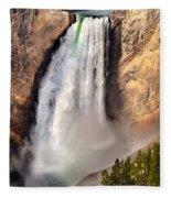 Lower Falls Of Yellowstone Fleece Blanket