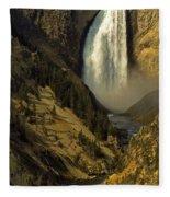Lower Falls On The Yellowstone River Fleece Blanket
