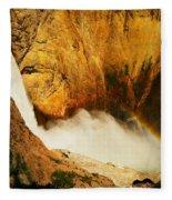 Lower Falls Yellowstone River Fleece Blanket