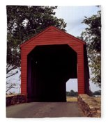 Loy's Station Covered Bridge Fleece Blanket