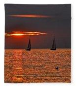 Red Maritime Dream Fleece Blanket