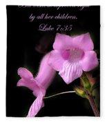 Luke 7 35 Pink Penstemon Flower Fleece Blanket
