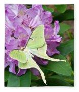 Luna Moth On Rhododendron 1 Fleece Blanket