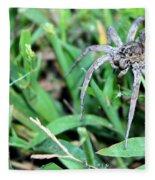 Lurking Spider In The Grass Fleece Blanket