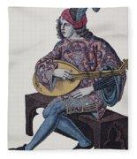 Lute Player, 1839 Fleece Blanket