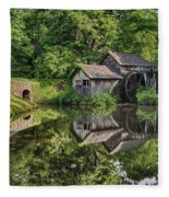 Mabry Mill And Pond With Reflection Fleece Blanket