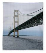 Mackinac Bridge From Water Fleece Blanket