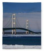 Mackinac Bridge In Winter 2 Fleece Blanket