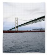 Mackinac Bridge With Ship Fleece Blanket