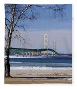 Mackinac Bridge With Trees Fleece Blanket