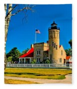 Mackinac Point Light Fleece Blanket