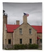 Mackinaw City Lighthouse Number 2446 Fleece Blanket