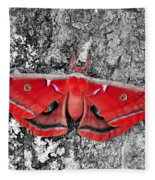 Madam Moth - Red White And Black Fleece Blanket