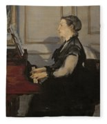 Madame Manet At The Piano Fleece Blanket