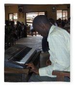 Madona Playing Piano In Nigerian Church Fleece Blanket