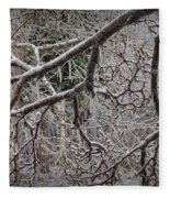 Magnolia Tree Branches Covered With Ice No.3834 Fleece Blanket