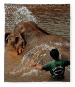Bathing An Elephant Laos Fleece Blanket