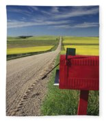 Mailbox On Country Road, Tiger Hills Fleece Blanket